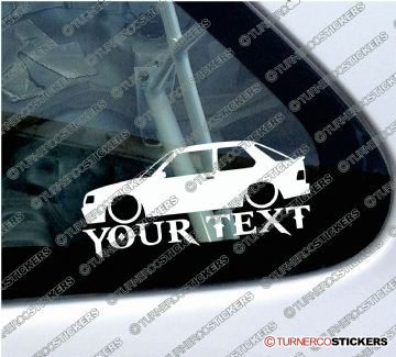 2x Custom YOUR TEXT Lowered car stickers - Peugeot 309 GTi 16 (3-Door)